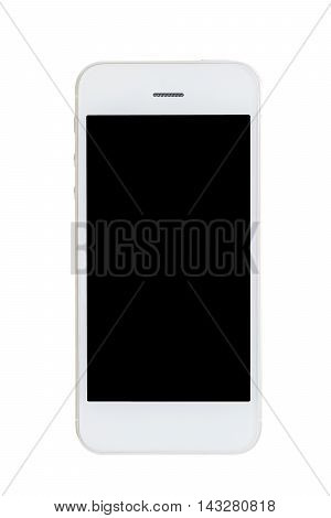 White mobile phone with black monitor isolated on white background in vertical view