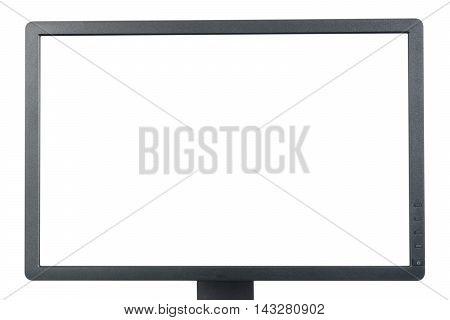 Half of black PC monitor on white background