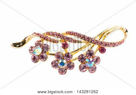 brooch with stones on a white background
