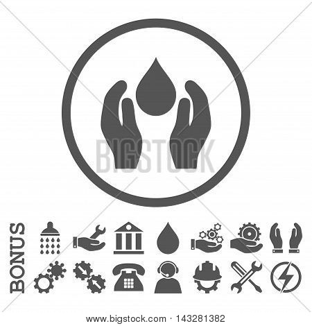 Water Care glyph icon. Image style is a flat pictogram symbol inside a circle, gray color, white background. Bonus images are included.
