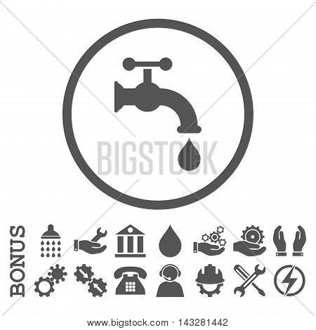 Water Tap glyph icon. Image style is a flat pictogram symbol inside a circle, gray color, white background. Bonus images are included.