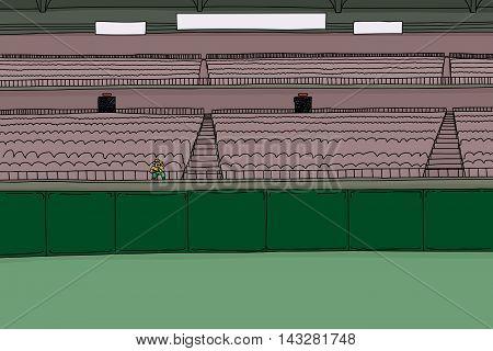 One Fan At Empty Stadium