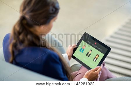 Company portfolio on a web page against woman using digital tablet
