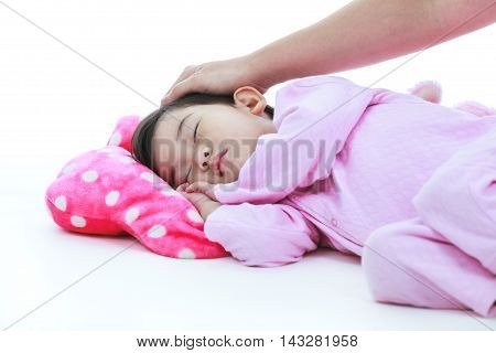 Adorable Asian Child Sleeping Peacefully, Isplated On White Background.