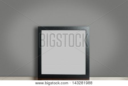 Empty Thick black photo frame on gray background with clipping path. Blank picture frame for your photo and text creation.