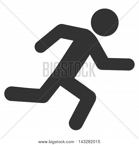Running Man icon. Glyph style is flat iconic symbol with rounded angles, gray color, white background.