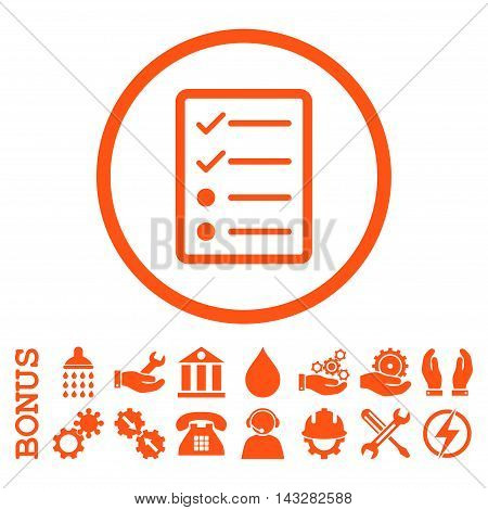 Checklist Page glyph icon. Image style is a flat pictogram symbol inside a circle, orange color, white background. Bonus images are included.
