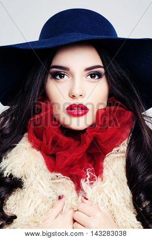 Glamorous Woman. Female Face. Makeup and Curly Hairstyle