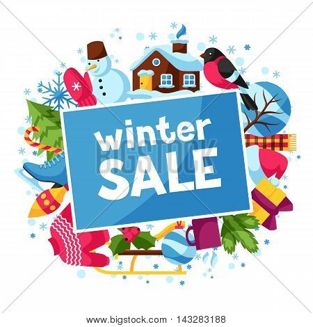 Winter sale background. Merry Christmas, Happy New Year holiday items and symbols.