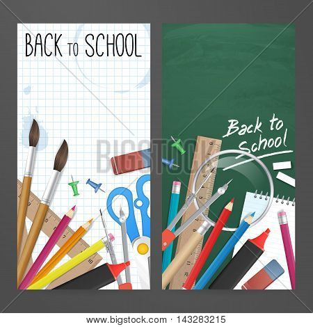 Back to school. Set vector banners with school supplies as pencil ruler brush chalkboard and other for website or print design. Isolated from background.