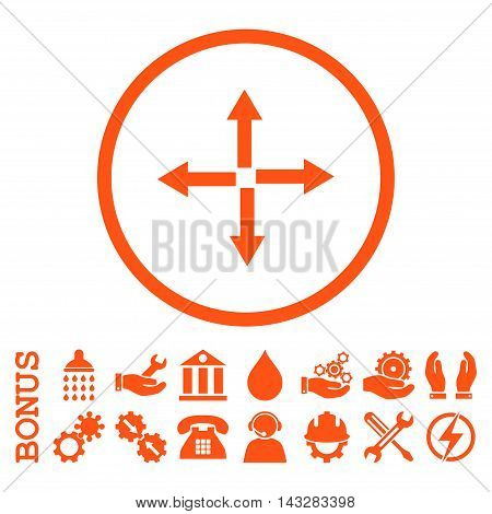 Expand Arrows glyph icon. Image style is a flat pictogram symbol inside a circle, orange color, white background. Bonus images are included.