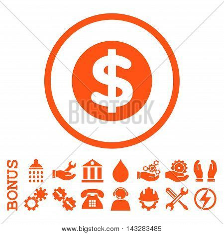 Finance glyph icon. Image style is a flat pictogram symbol inside a circle, orange color, white background. Bonus images are included.
