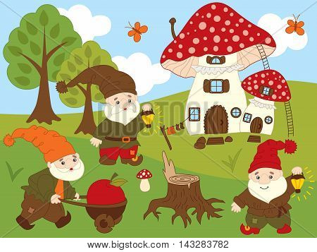 Vector cute cartoon gnomes in the forest