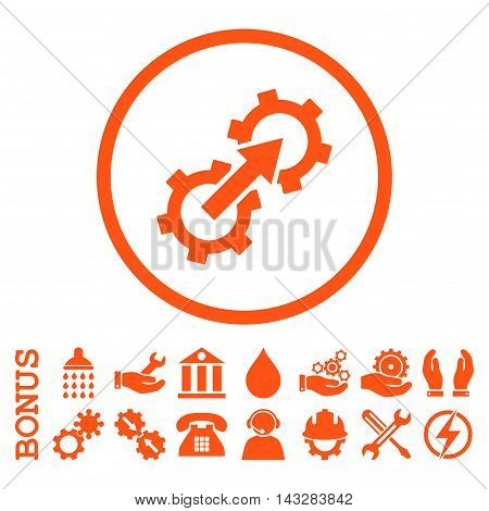 Gear Integration glyph icon. Image style is a flat pictogram symbol inside a circle, orange color, white background. Bonus images are included.