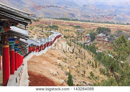 Panoraman of the Heyang Temple in Heqing Yunnan in China