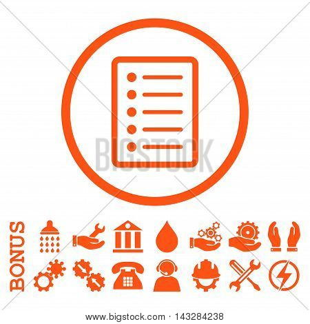 List Page glyph icon. Image style is a flat pictogram symbol inside a circle, orange color, white background. Bonus images are included.