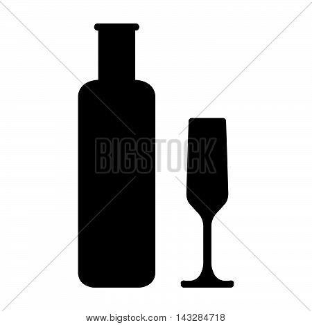 Bottles and glasse of alcohol. Wine vector illustration.