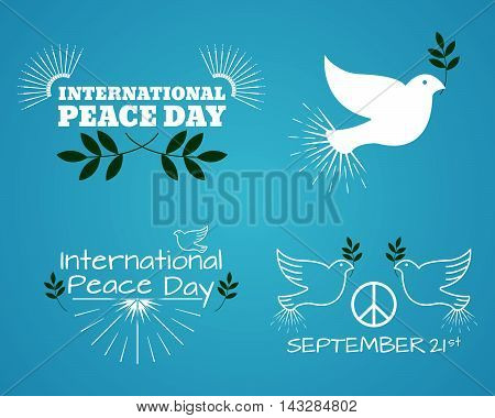 Set Of International Day Of Peace. Vintage And Retro Typographic Design. Vector Illustration.