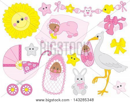 Vector african american pink baby girl set