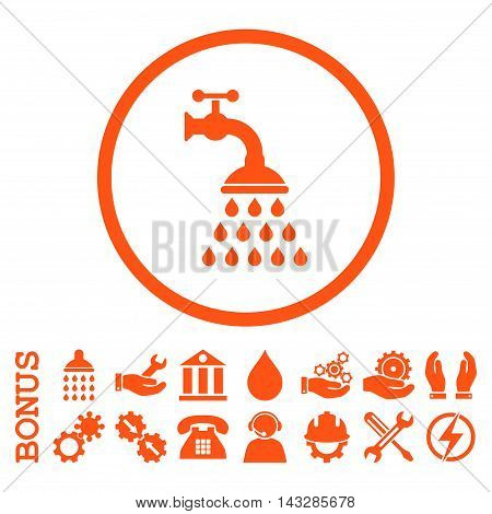 Shower Tap glyph icon. Image style is a flat pictogram symbol inside a circle, orange color, white background. Bonus images are included.