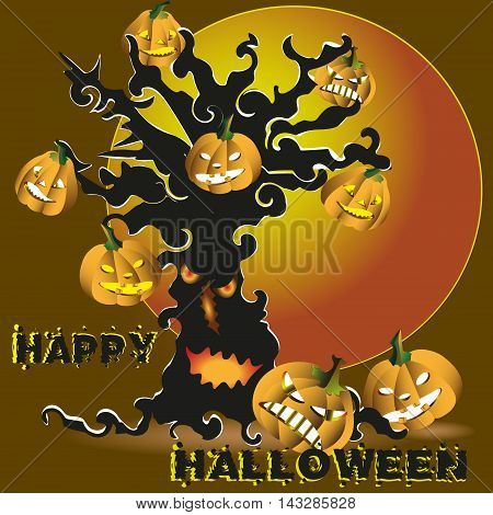 Halloween tree with pumpkin vector illustration Party invitation or greeting card picture black halloween tree with pumpkin greeting inscription