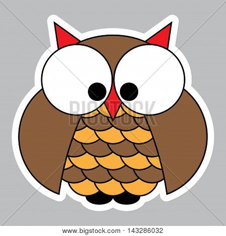 sticker - colored cute owl with big eyes on a gray background