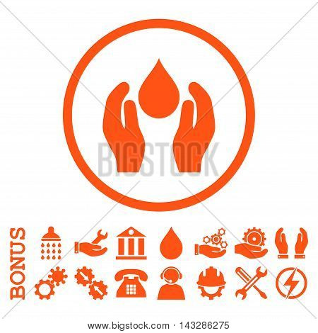 Water Care glyph icon. Image style is a flat pictogram symbol inside a circle, orange color, white background. Bonus images are included.