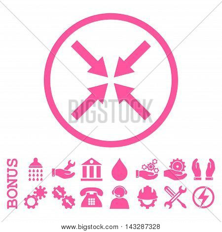 Center Arrows glyph icon. Image style is a flat pictogram symbol inside a circle, pink color, white background. Bonus images are included.
