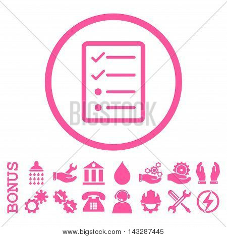 Checklist Page glyph icon. Image style is a flat pictogram symbol inside a circle, pink color, white background. Bonus images are included.