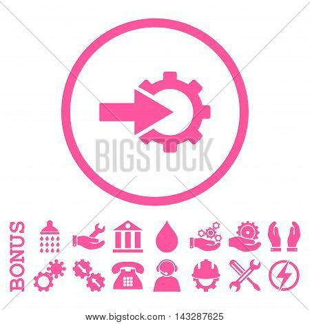 Cog Integration glyph icon. Image style is a flat pictogram symbol inside a circle, pink color, white background. Bonus images are included.