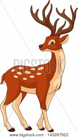Sika deer on a white background, EPS 8