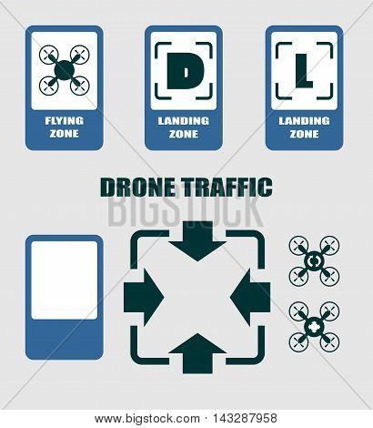 Drone traffic symbols. Flat symbol. Vector illustration. Road signs collection