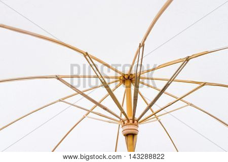 Underneath of White Asian Hand made Paper Umbrella