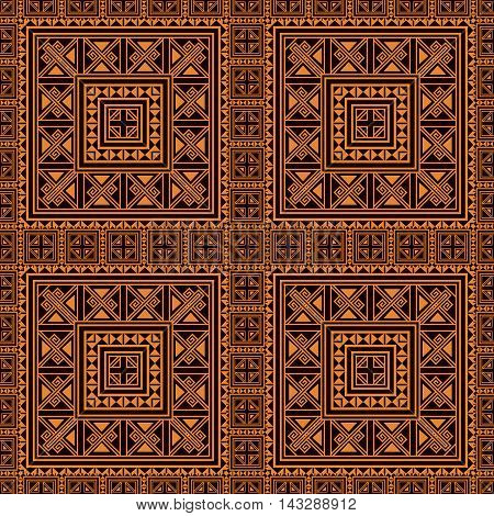 Seamless pattern background in orange and black colors. Ethnic style. Vector illustrations. Use this pattern in the design of carpet, shawl, pillow, textile, wrapping paper, wallpaper, ceramic tiles