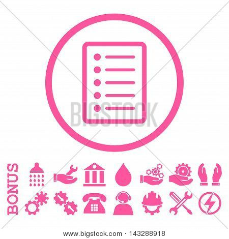 List Page glyph icon. Image style is a flat pictogram symbol inside a circle, pink color, white background. Bonus images are included.