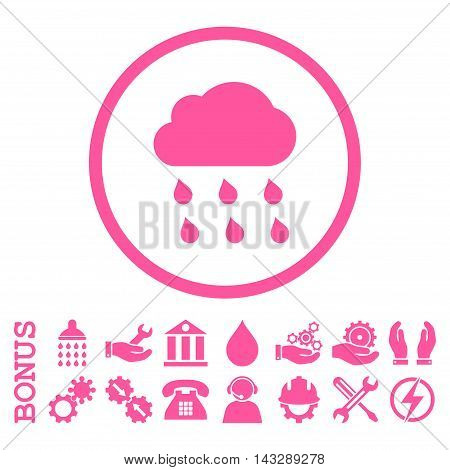Rain Cloud glyph icon. Image style is a flat pictogram symbol inside a circle, pink color, white background. Bonus images are included.