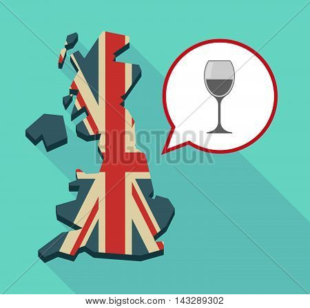 Long Shadow United Kingdom Map With A Comic Balloon And A Cup Of Wine