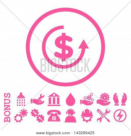 Refund glyph icon. Image style is a flat pictogram symbol inside a circle, pink color, white background. Bonus images are included.