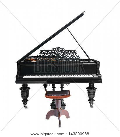 Piano on white background
