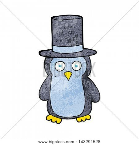 freehand textured cartoon penguin wearing hat