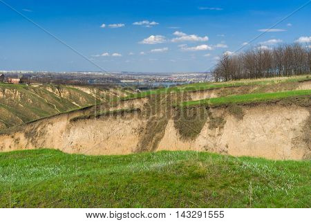 Spring landscape in Ukraine near Dnepr river in Dnepropetrovsk city area.