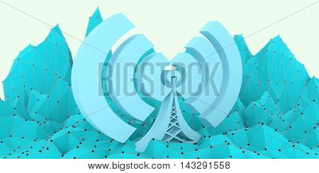 Wi Fi Symbol on low poly backdrop. Mobile gadgets technology relative image
