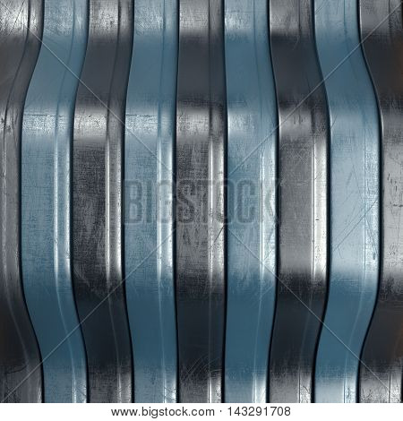 Scratched abstract background with black and blue stripes. 3d rendering