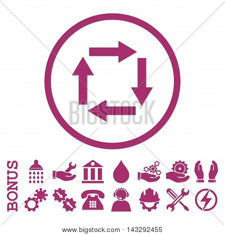 Circulation Arrows glyph icon. Image style is a flat pictogram symbol inside a circle, purple color, white background. Bonus images are included.