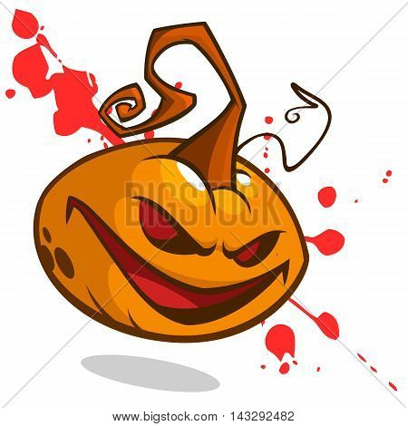 Cartoon vector illustration of creepy Jack o Lantern pumpkin head with red eyes on bloody spots. Halloween illustration isolated