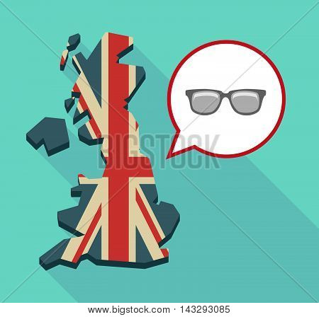 Long Shadow United Kingdom Map With A Comic Balloon And A Glasses