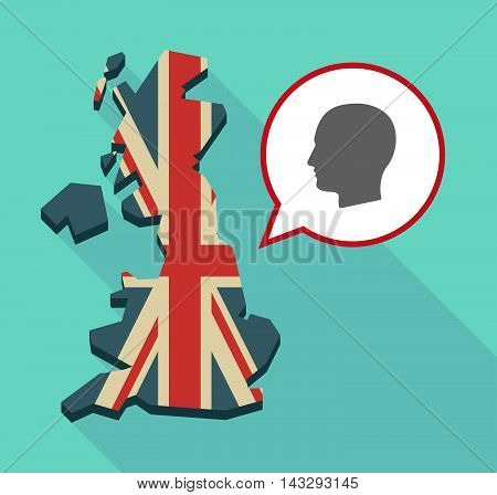 Long Shadow United Kingdom Map With A Comic Balloon And A Male Head