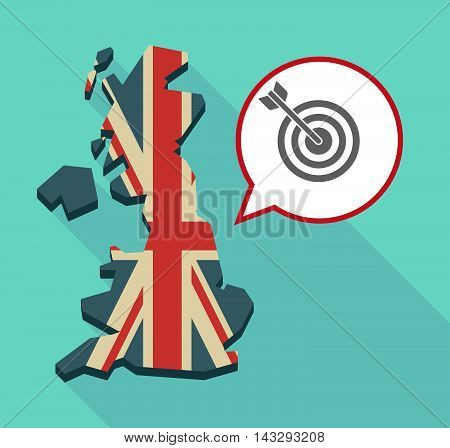 Long Shadow United Kingdom Map With A Comic Balloon And A Dart Board