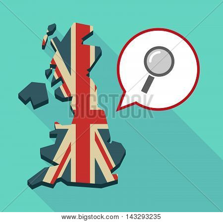 Long Shadow United Kingdom Map With A Comic Balloon And A Magnifier