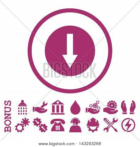 Down Rounded Arrow glyph icon. Image style is a flat pictogram symbol inside a circle, purple color, white background. Bonus images are included.